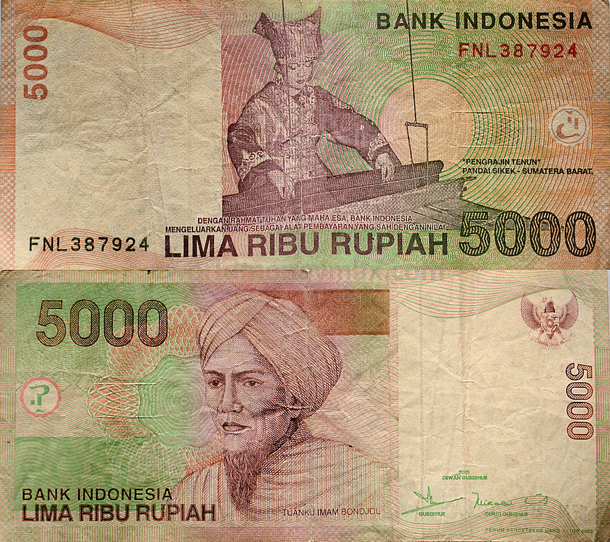 Home Banknote Catalog Asia Indonesia 5000 Rupiah 2001 Republic Of
