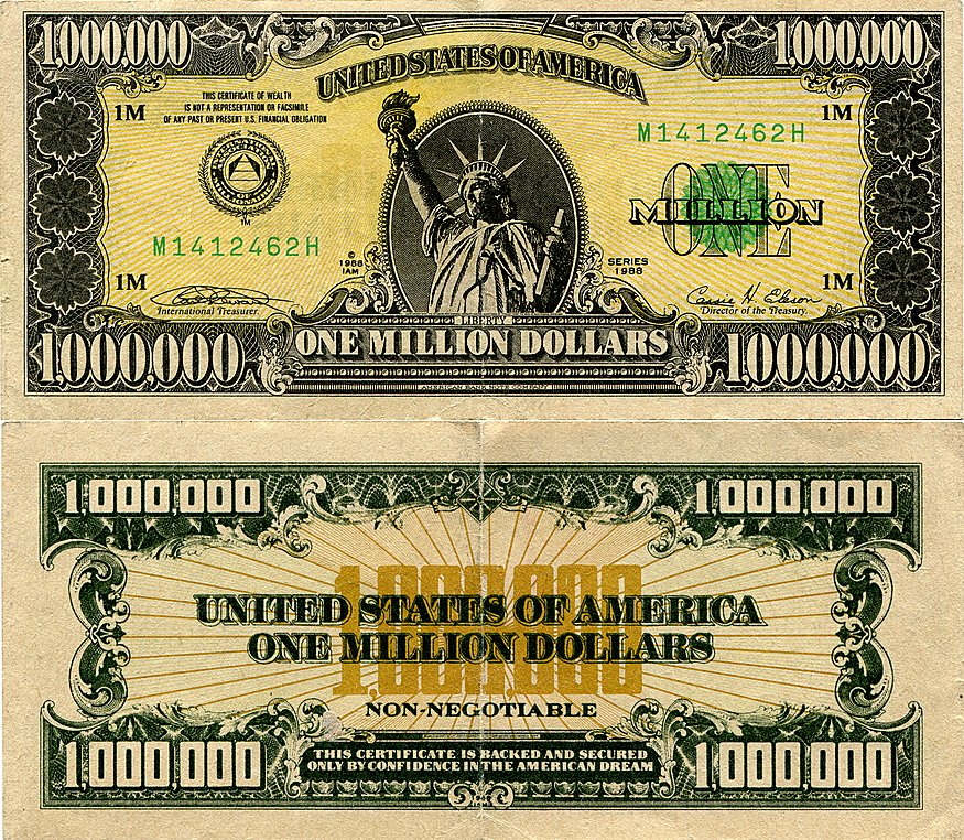 Usa 1 Million Souvenir Money 1955 Banknote Worldmoneymax One