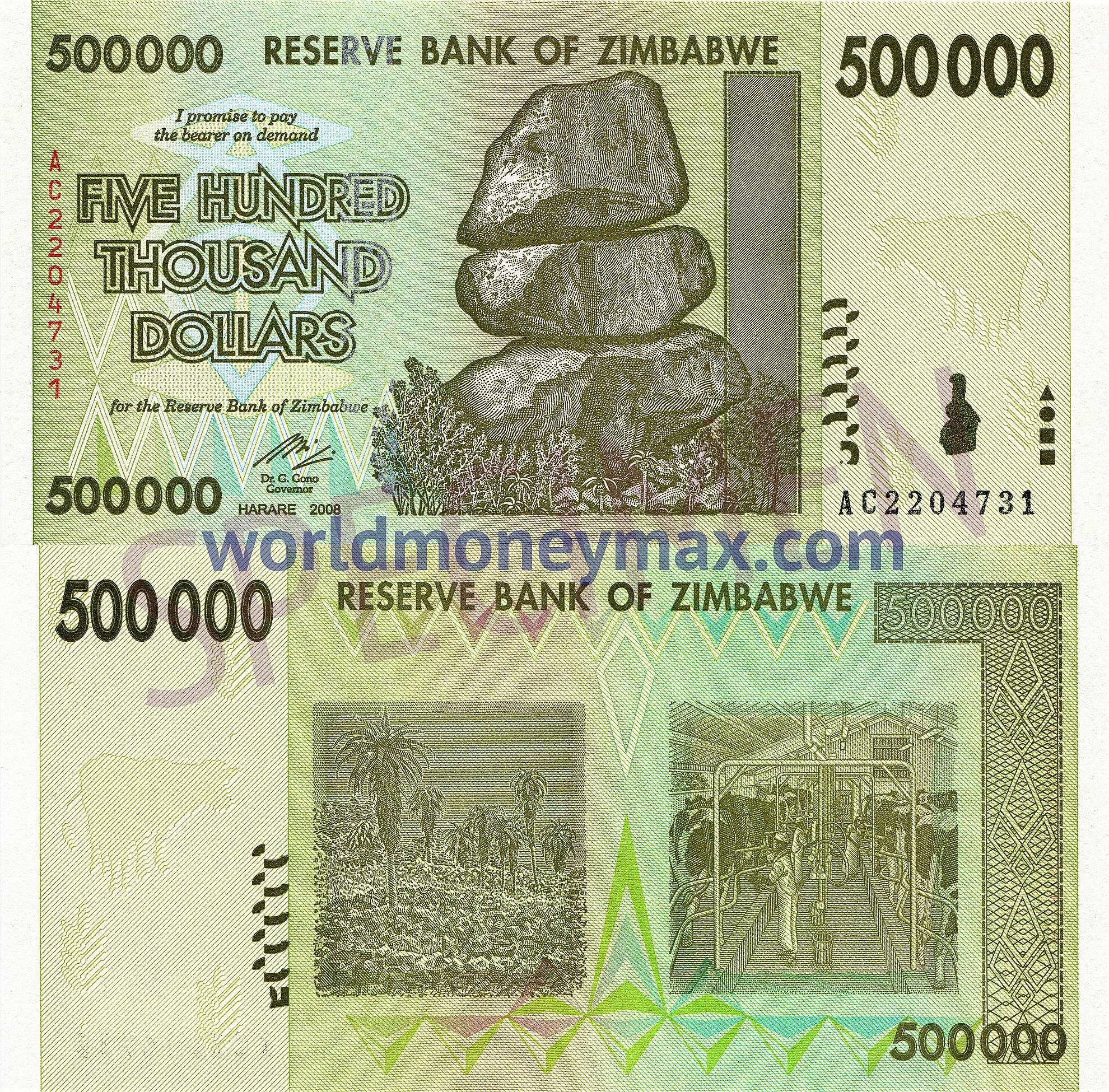 Zimbabwe 500000 dollar 2008 banknote for 200 thousand dollar homes