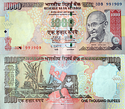 Banknote India 1000 Rupee 2011