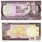 Banknote Colombia 50 Peso 1986