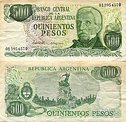 Banknote Argentina 500 Peso 1977