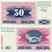 Banknote Bosnia And Herzegovina 50 Dinar 1992