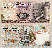 Banknote Turkey 50 Lira 1976