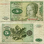 Banknote Germany 5 Mark 1963