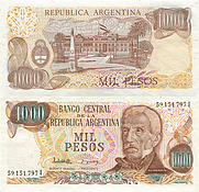 Banknote Argentina 1000 Peso 1976